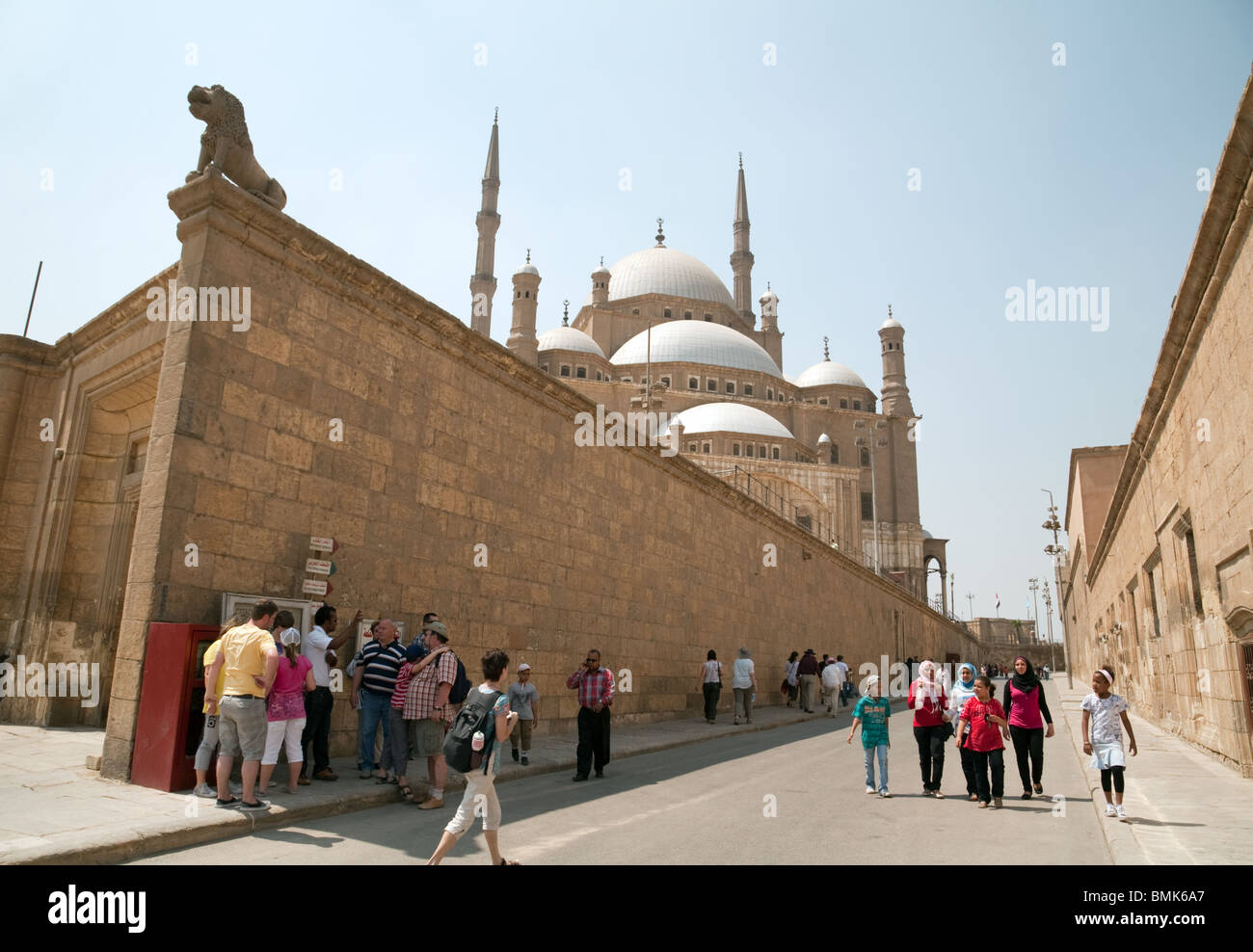 Western tourists mingle with egyptians, The Muhammad  Ali Mosque, the Islamic Quarter, cairo, Egypt - Stock Image