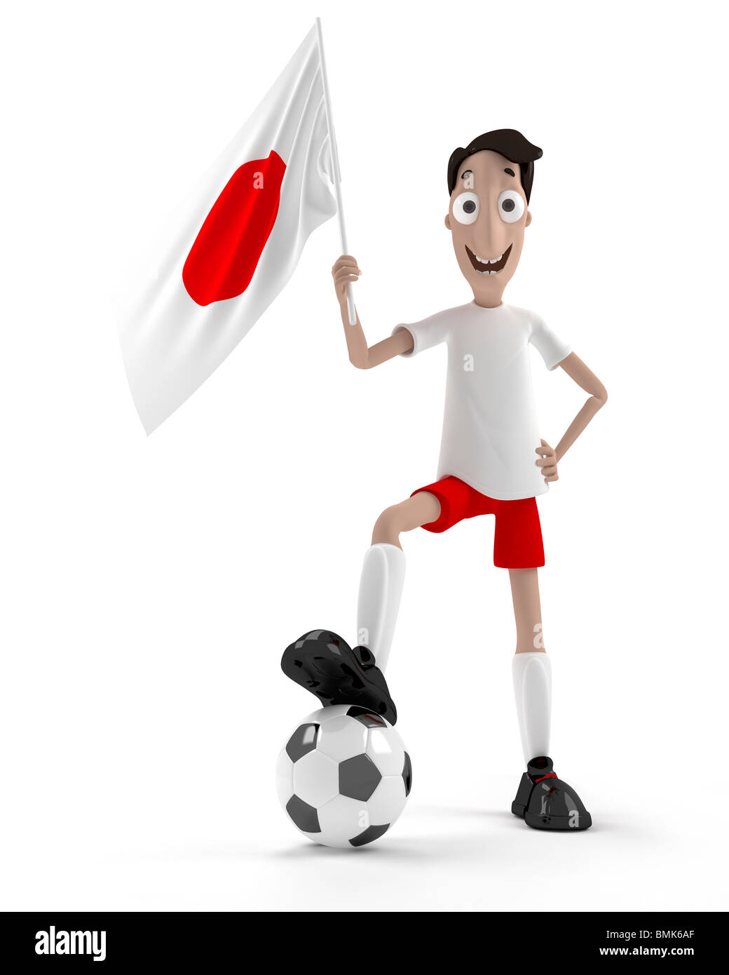 Smiling cartoon style soccer player with ball and Japan flag Stock Photo