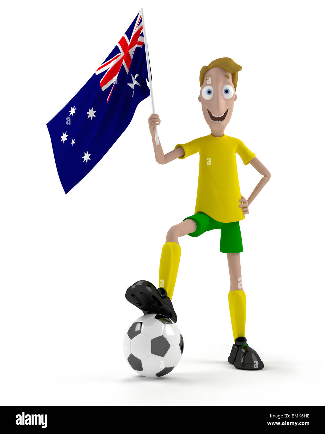 Smiling cartoon style soccer player with ball and Australia flag - Stock Image