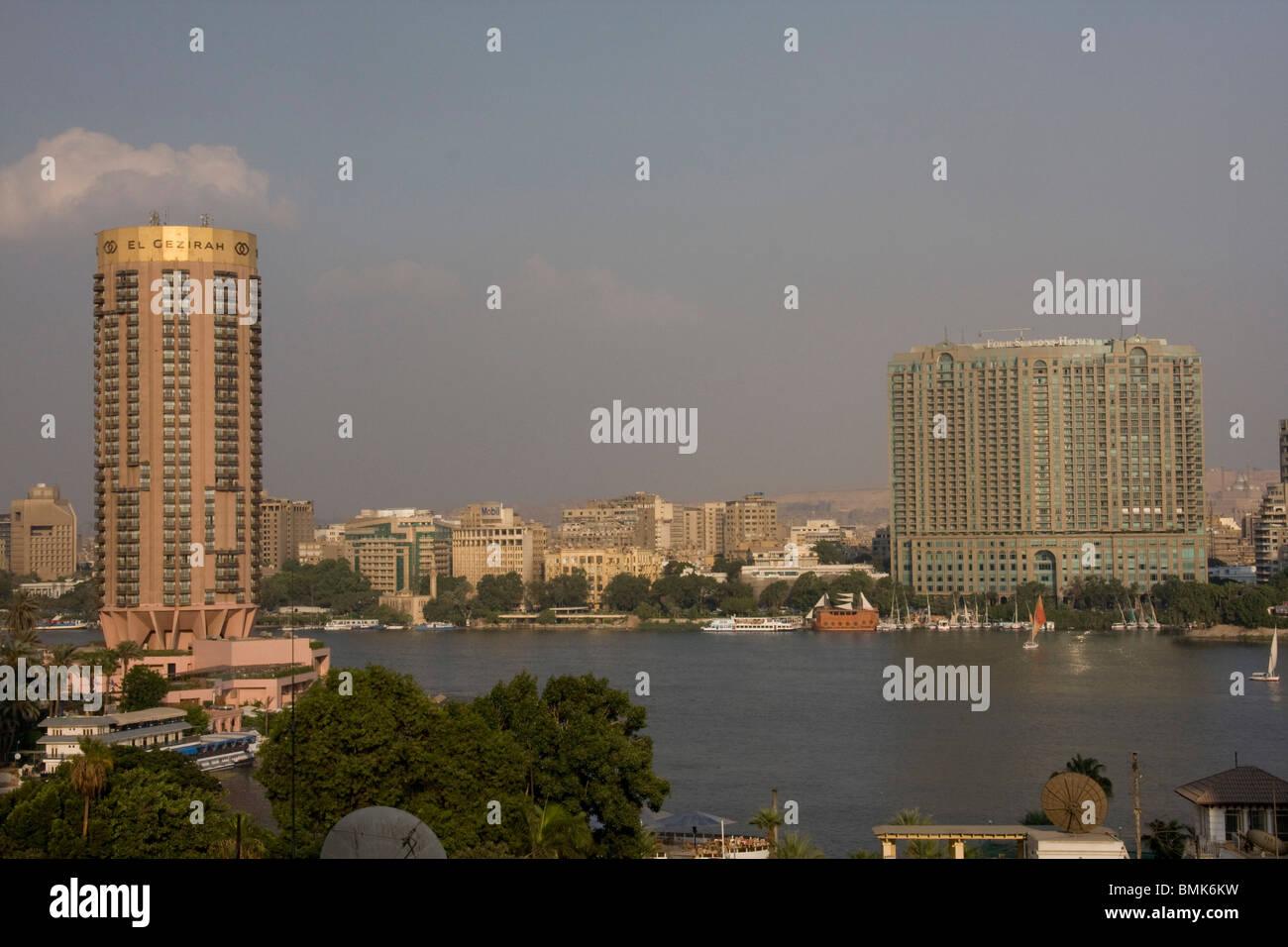 El Gezirah Hotel and Four Seasons Hotel along the Nile River, Cairo, Al Qahirah, Egypt Stock Photo
