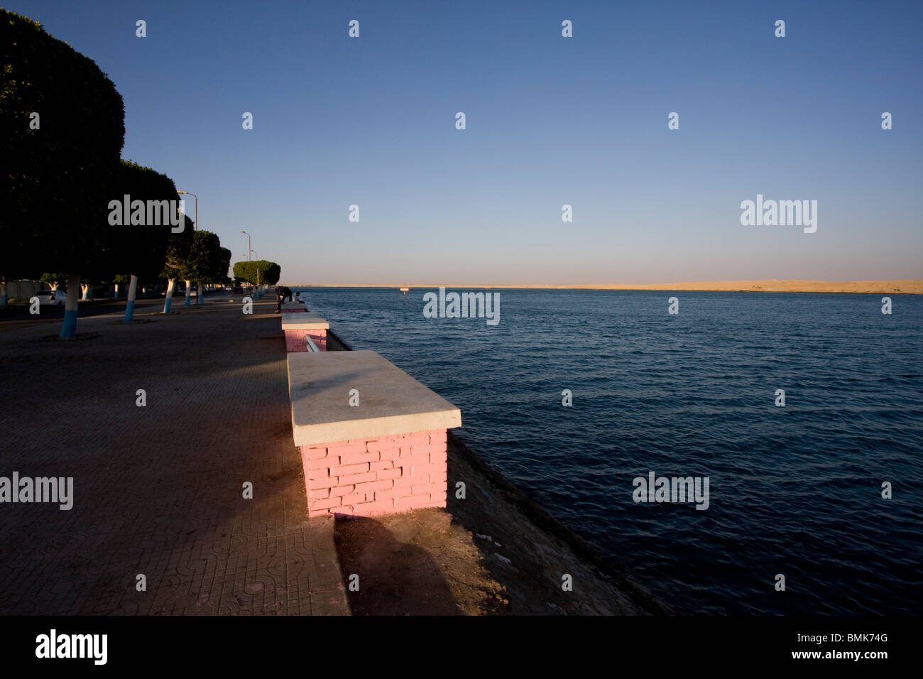 Corniche by the Suez Canal, Suez, South Sinai, Egypt - Stock Image