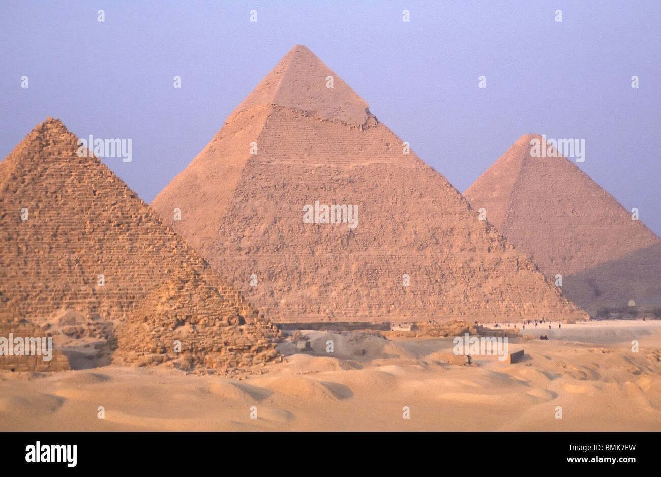 Pyramid of Menkaure (Mycerinus), Pyramid of Khafre (Chephren) and Great Pyramid of Khufu (Cheops), Giza, Al Jizah, - Stock Image