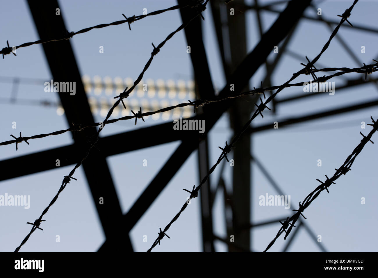 Looking up at an electricity pylon - Stock Image