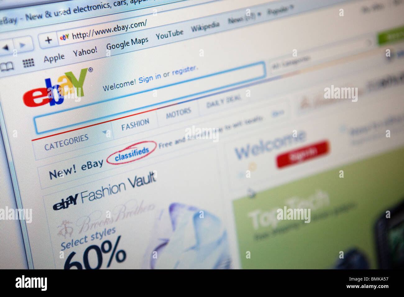 Close Up Of A Computer Monitor Screen Showing The Ebay Online Stock Photo Alamy