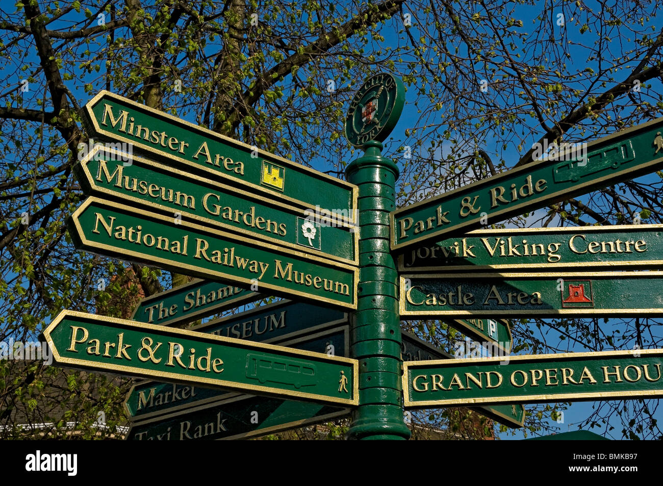 Signpost in York City Centre North Yorkshire England UK United Kingdom GB Great Britain - Stock Image