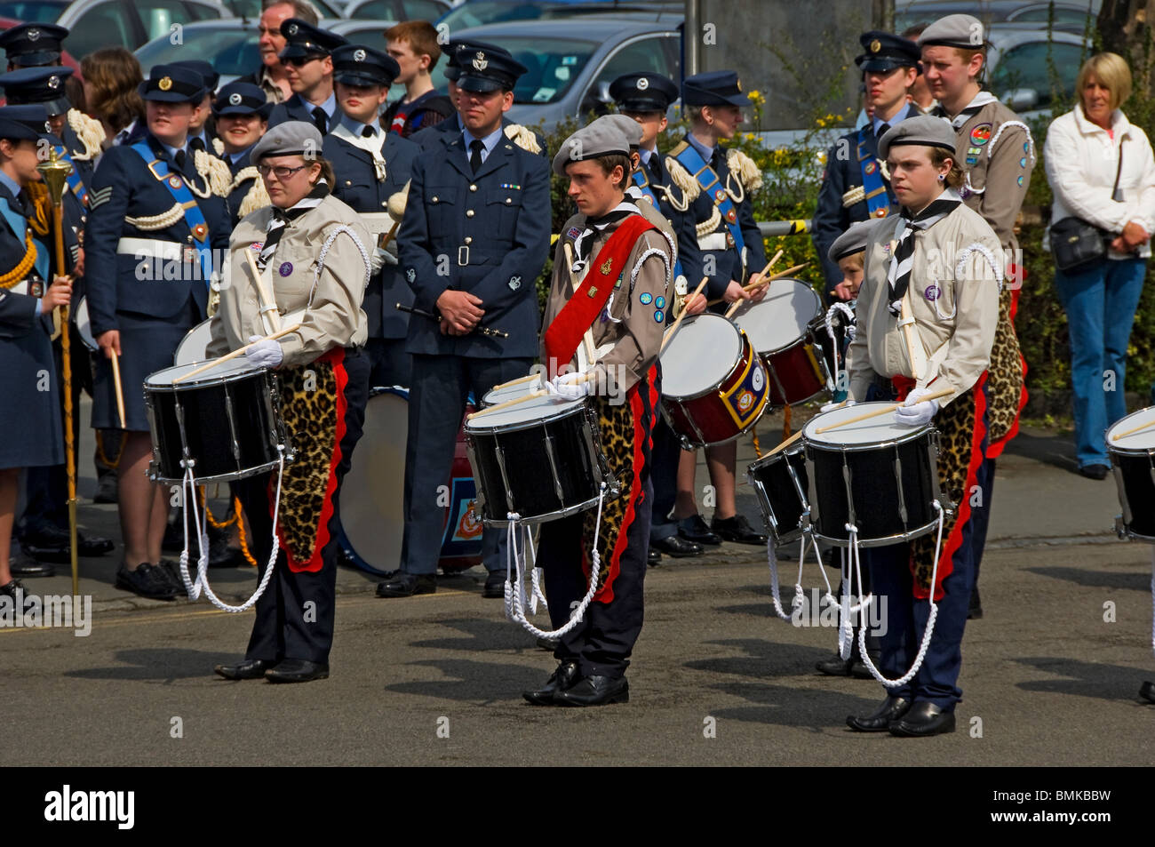 Drummers in the Scout band York North Yorkshire England UK United Kingdom GB Great Britain - Stock Image