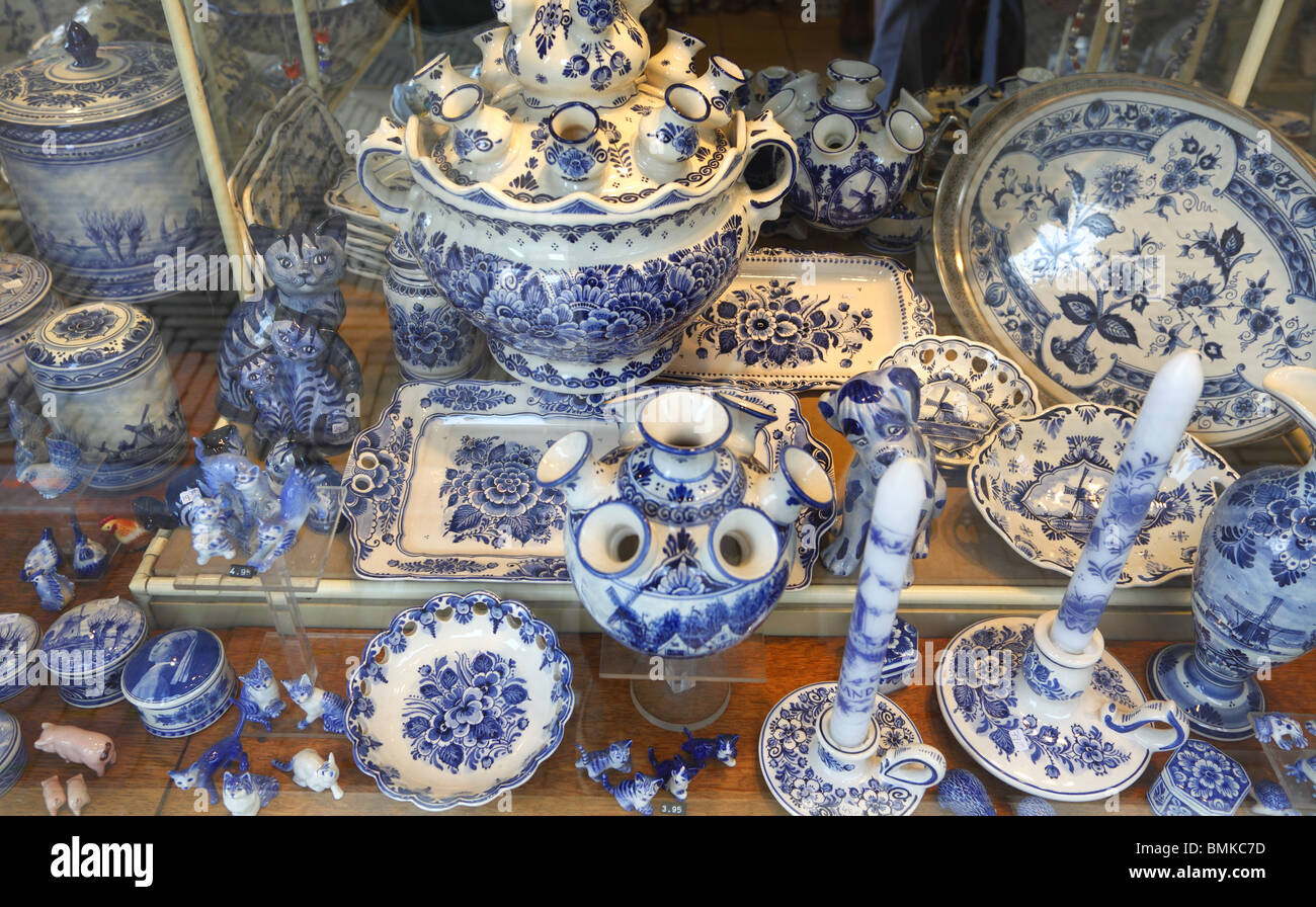 Blue and white pottery on sale in Delft, Holland. - Stock Image