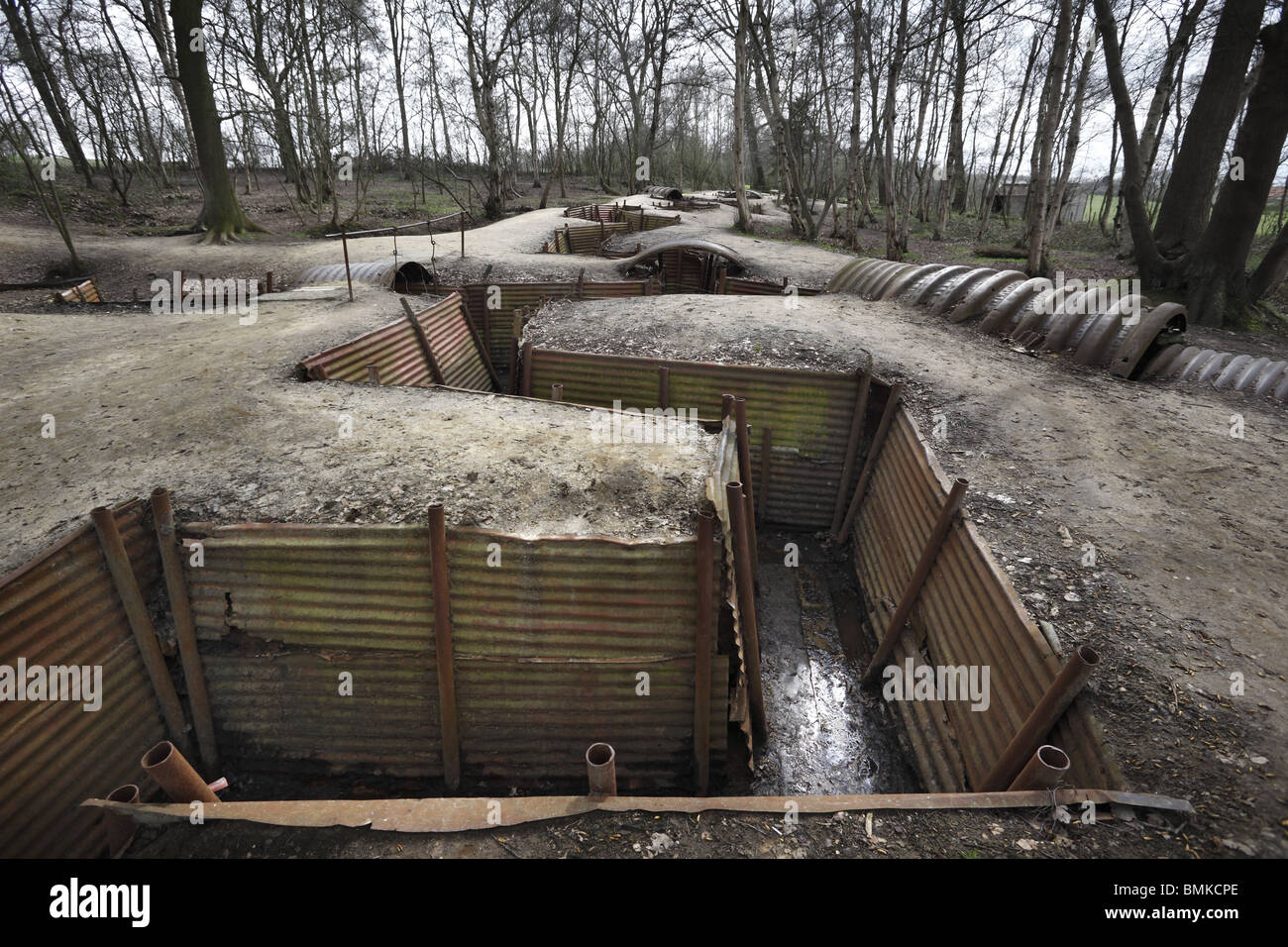 World War 1 trenches at Sanctuary Wood near Ypres in Belgium. - Stock Image
