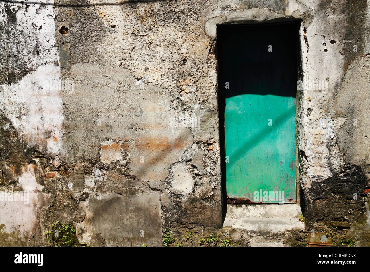 An old decrepit back door exit. Stock Photo
