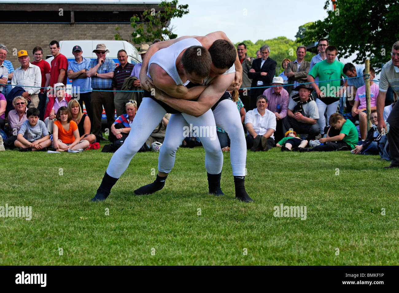 Cumberland and Westmoreland Wrestling contest at the Northumberland County Show in Corbridge - Stock Image