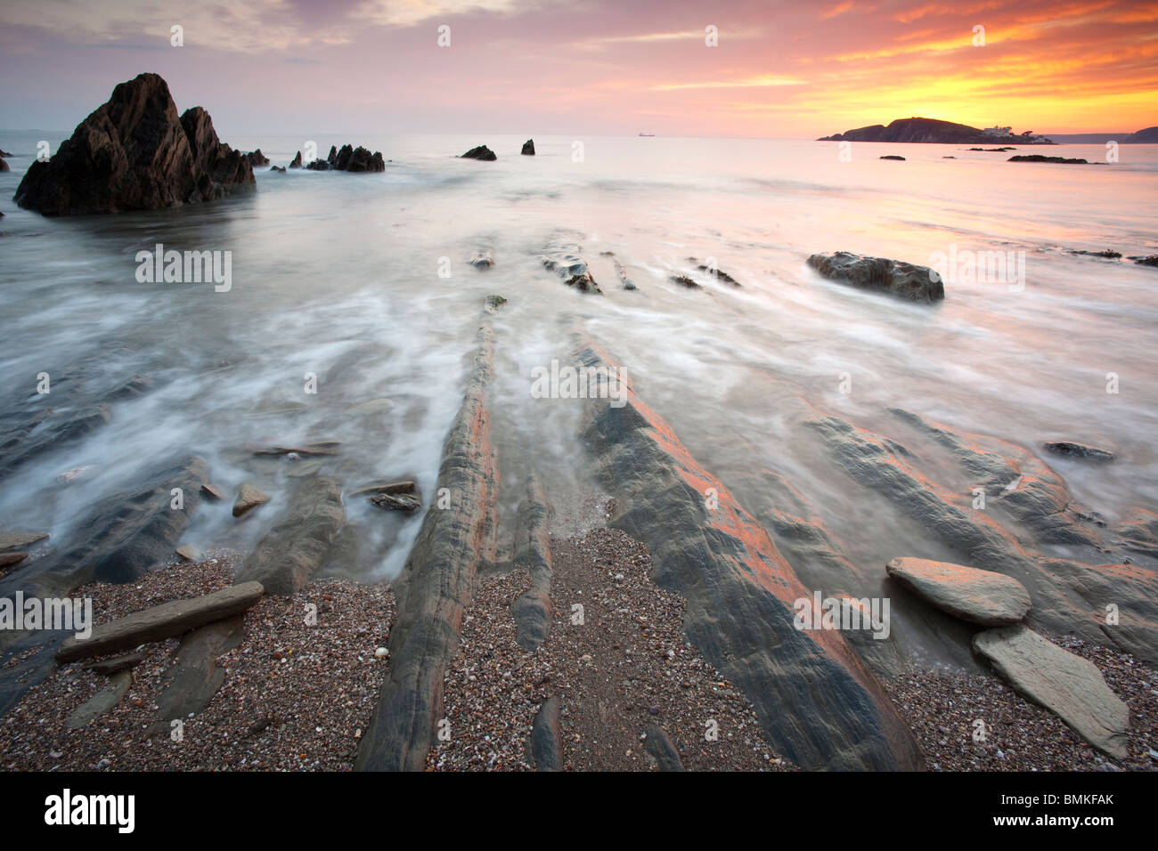 Bantham Bay at Sunset, Devon, UK - Stock Image