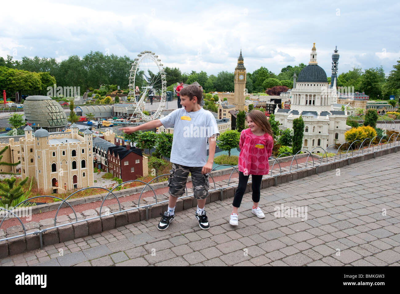Children at Miniland, Legoland, Windsor, UK Stock Photo