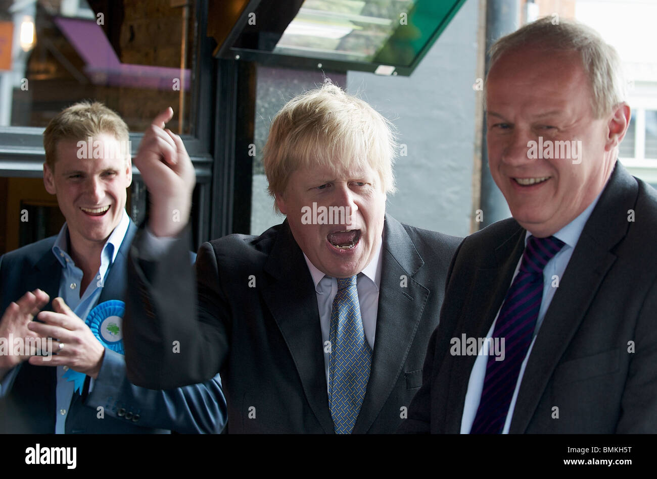 London Mayor, Boris Johnson and Shadow Immigration Minister, Damian Green, campaign and hold a public meeting on - Stock Image