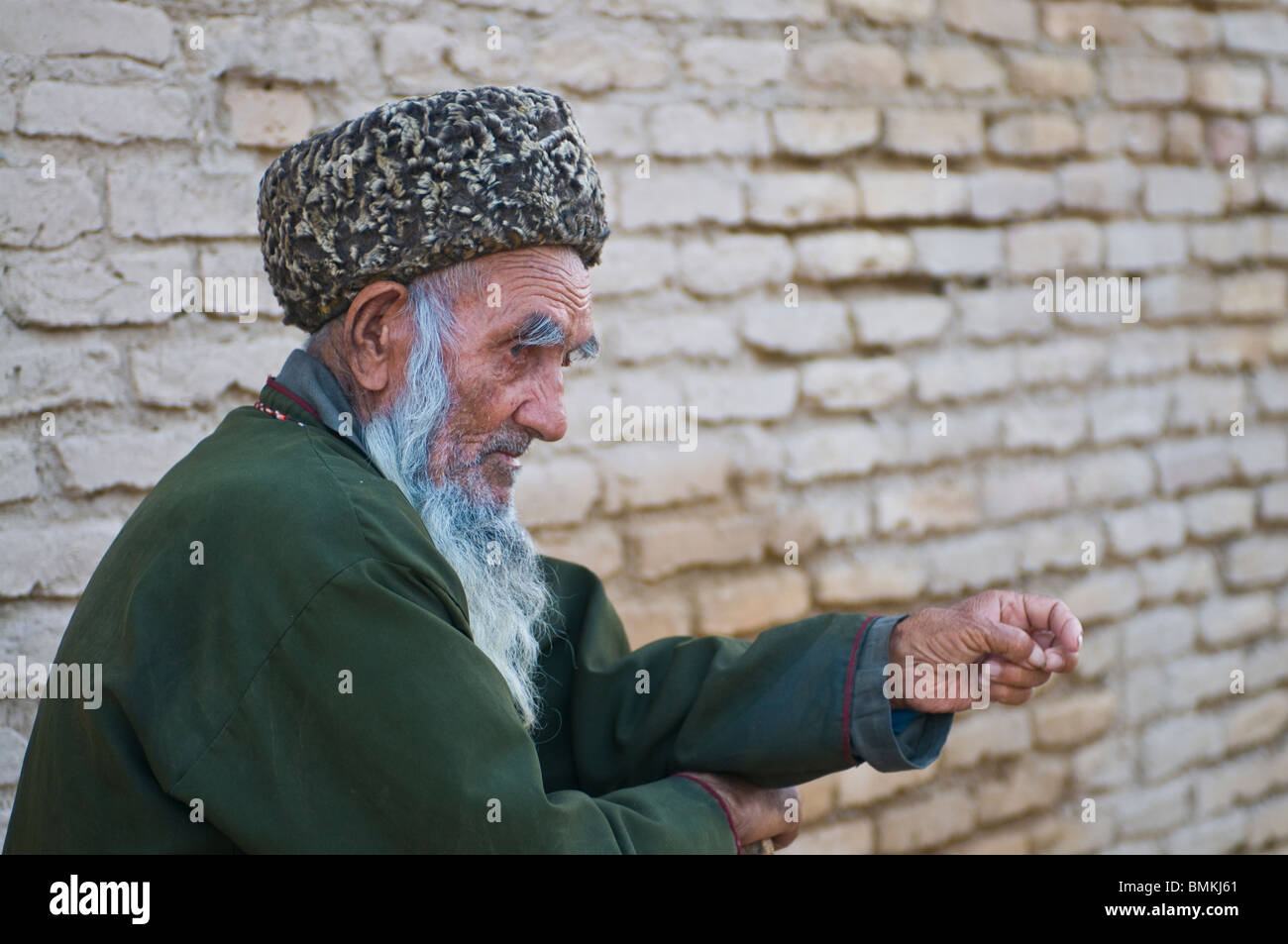 Old man with beard, Merv, Turkmenistan - Stock Image