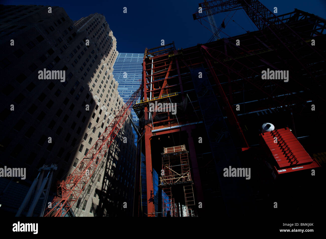 Construction work on One World trade Centre which is being built on the Ground Zero site in New York City. Stock Photo
