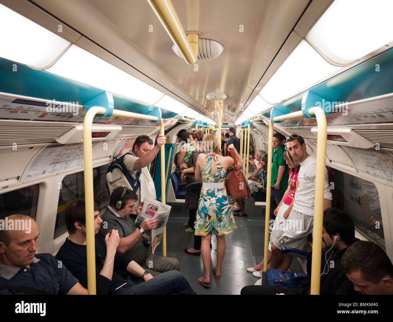Interior of London Underground train - Stock Image