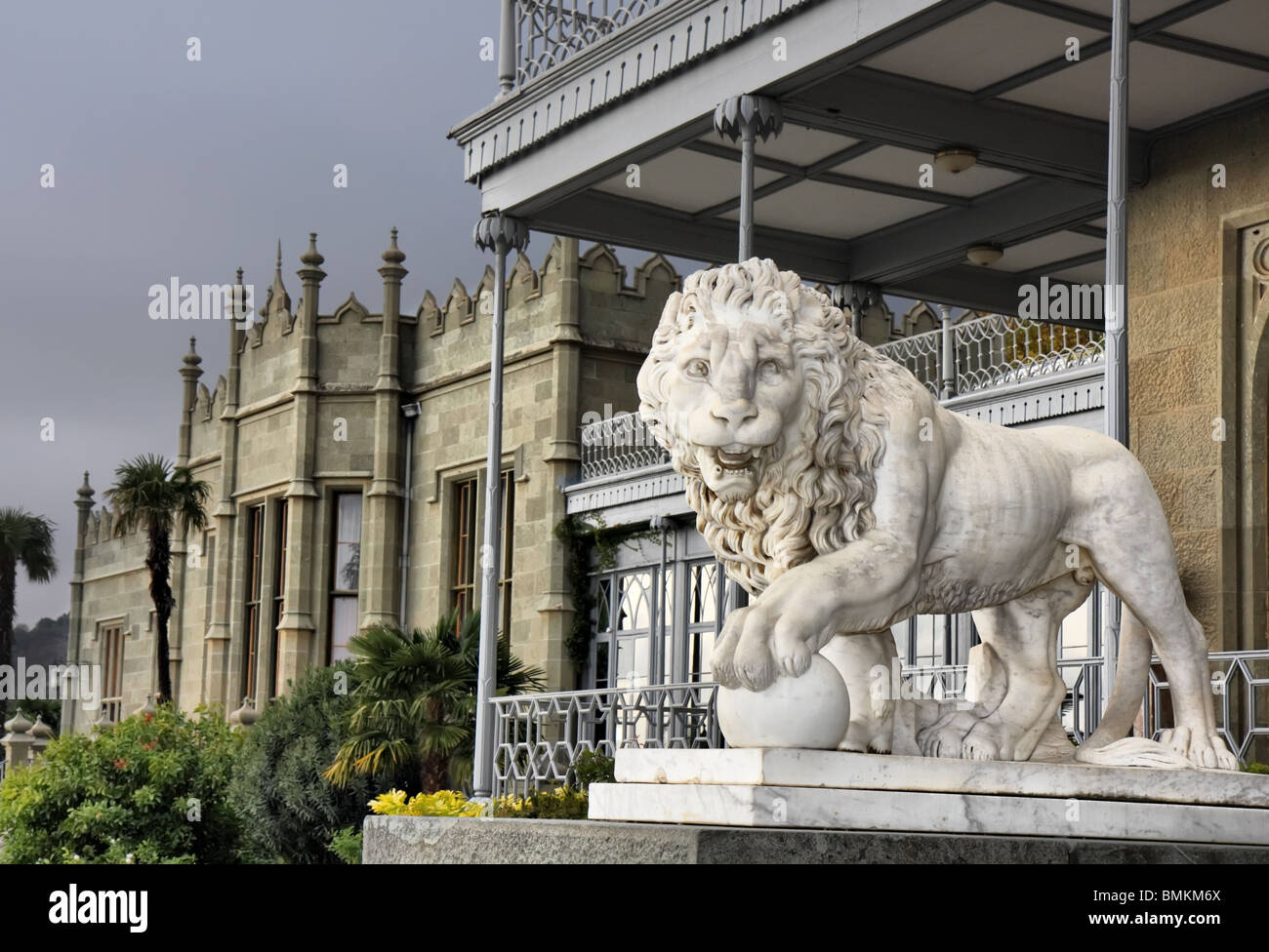 Marble sculpture of lion by the Vorontsovsky palace - Stock Image