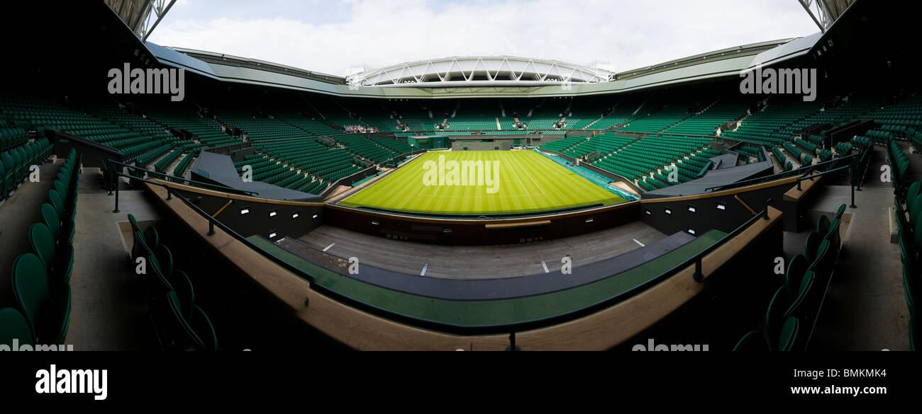 Panoramic photograph of Centre Court Wimbledon / tennis Championship stadium arena with the retractable roof. Wimbledon, - Stock Image