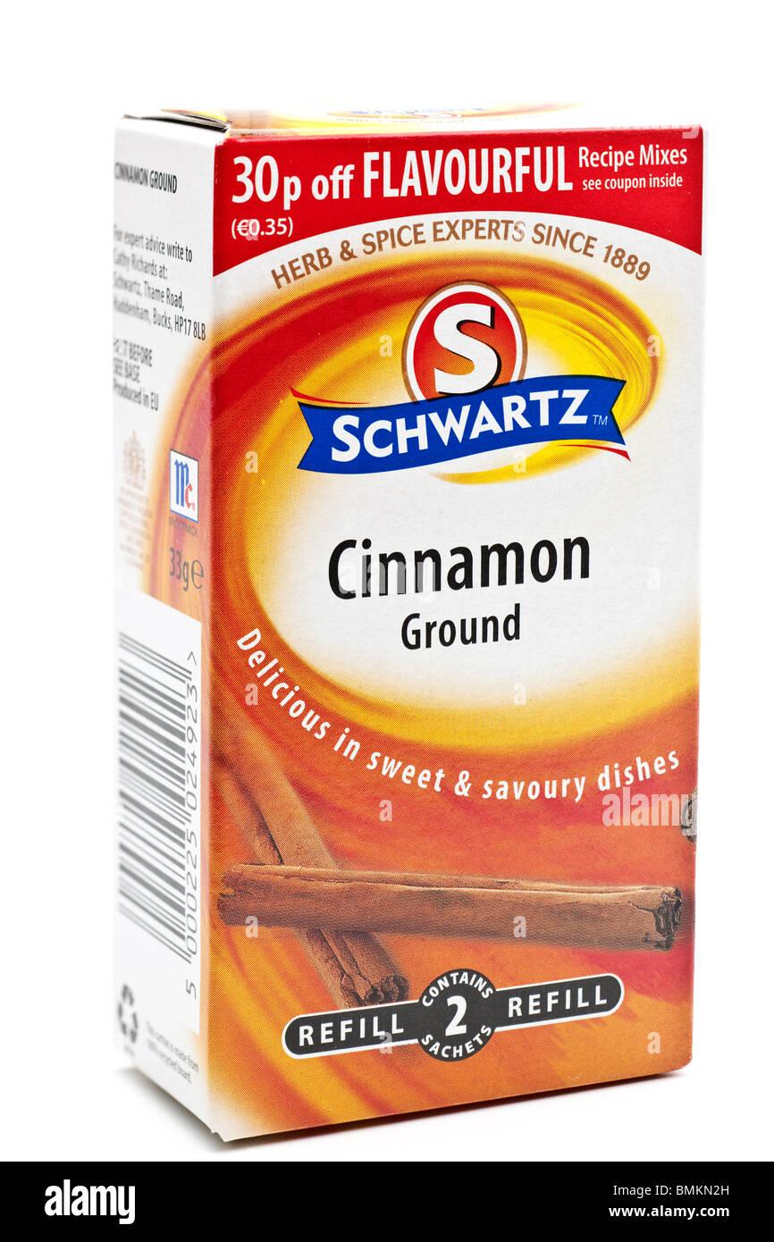 33g box of Schwartz ground cinnamon - Stock Image