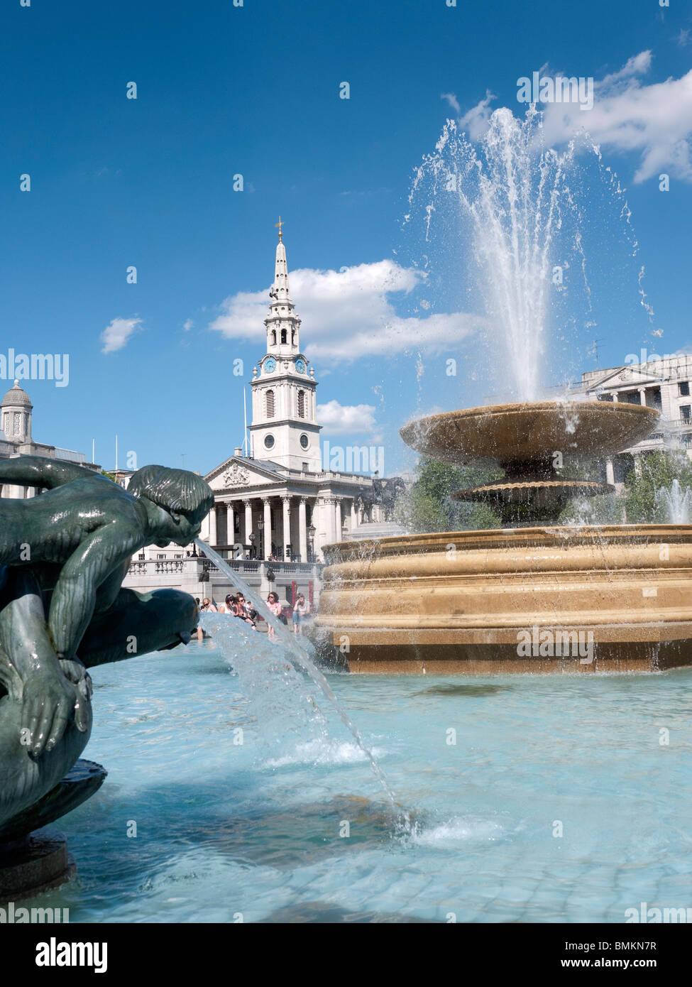 Trafalgar Square and st Martins Church London - Stock Image