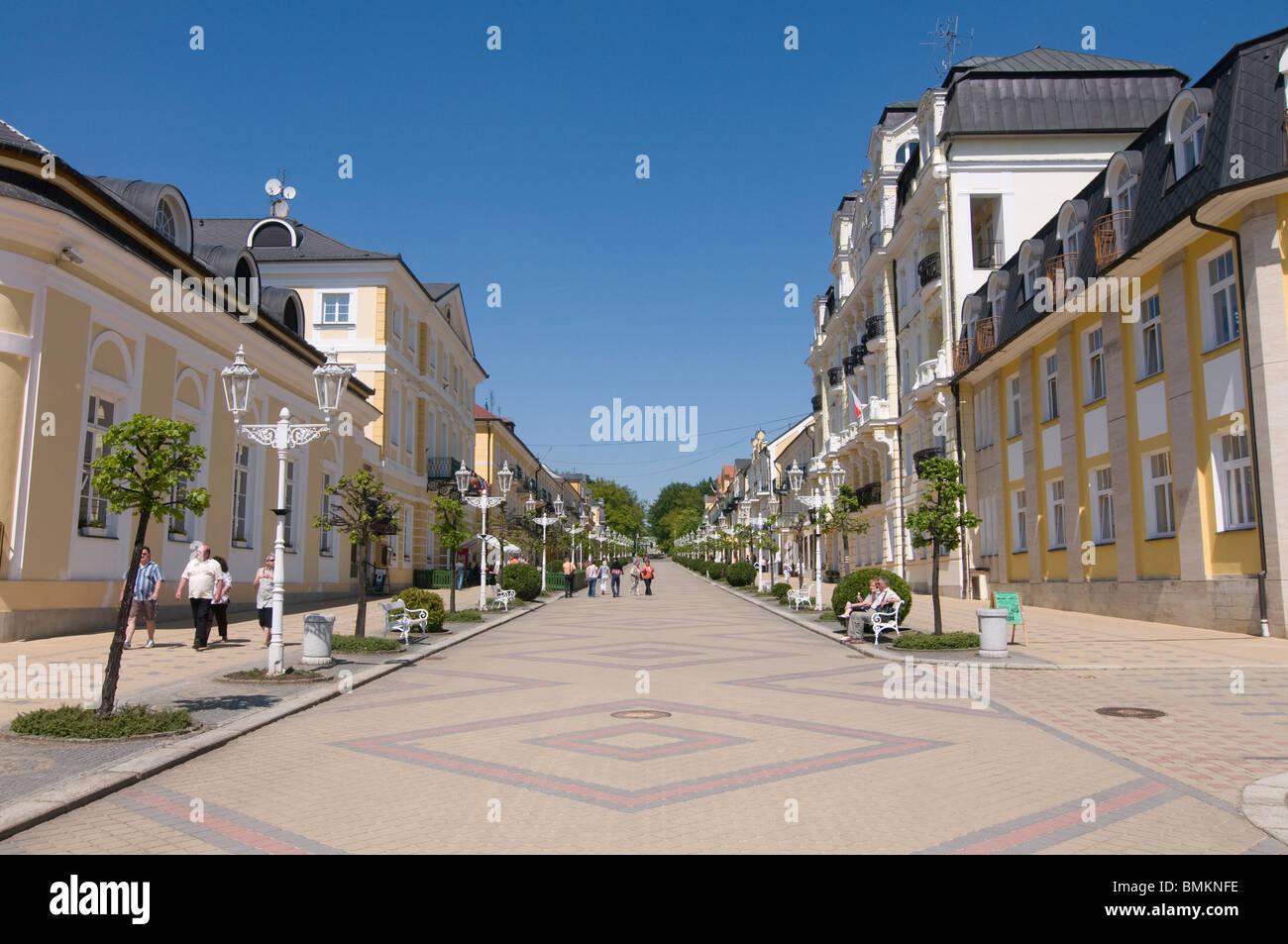 Pedestrian Area in inner city, Franzensbad,Czech Republic - Stock Image