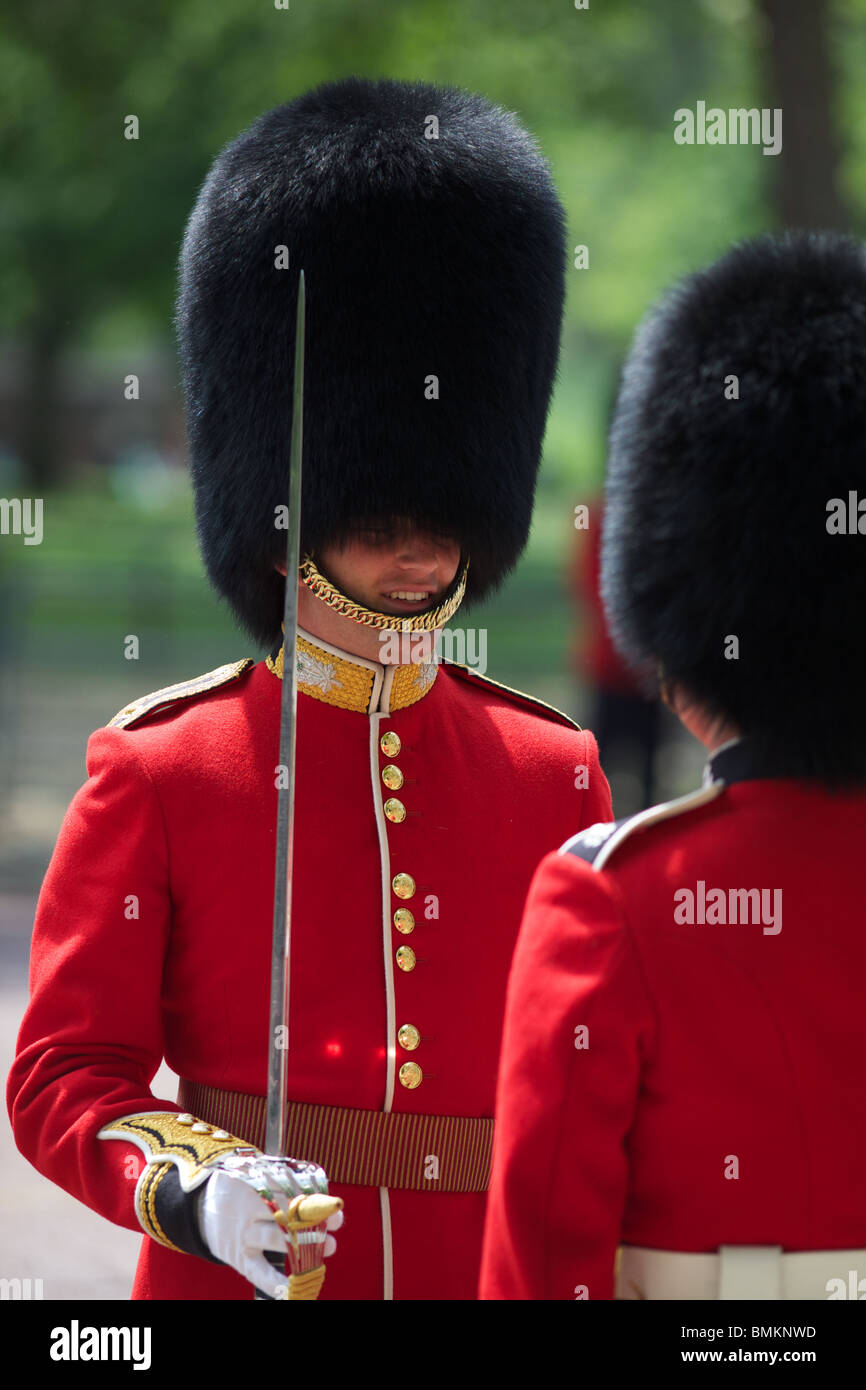 Coldstream guard being inspected by an officer at the State opening of Parliament ceremony, London - Stock Image