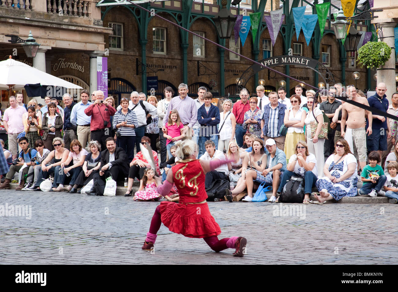 Street performers at Covent Garden, London - Stock Image