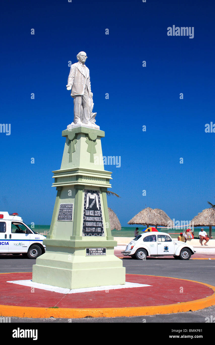 Statue of Juan Miguel Castro ;  founder of Progresso ; Progresso ; Mexico - Stock Image
