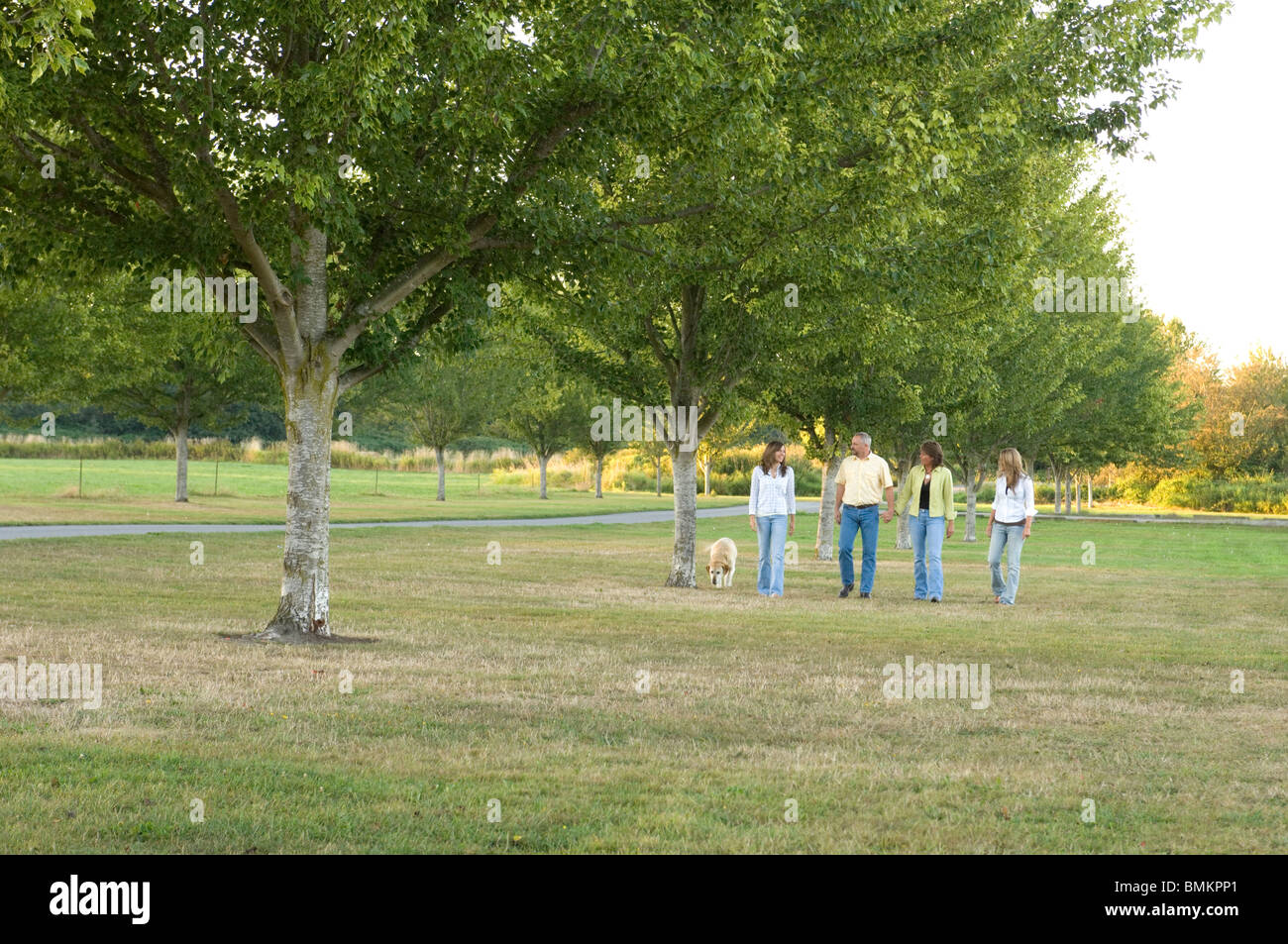 Family of four walking their dog in a park - Stock Image