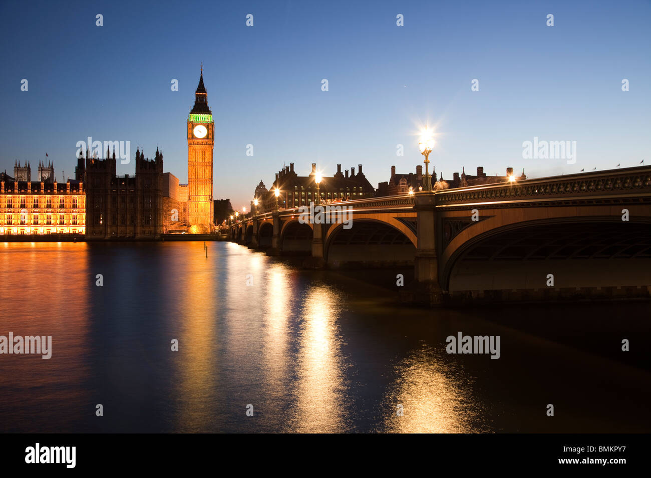 Big Ben and Westminster Bridge viewed at dusk London - Stock Image