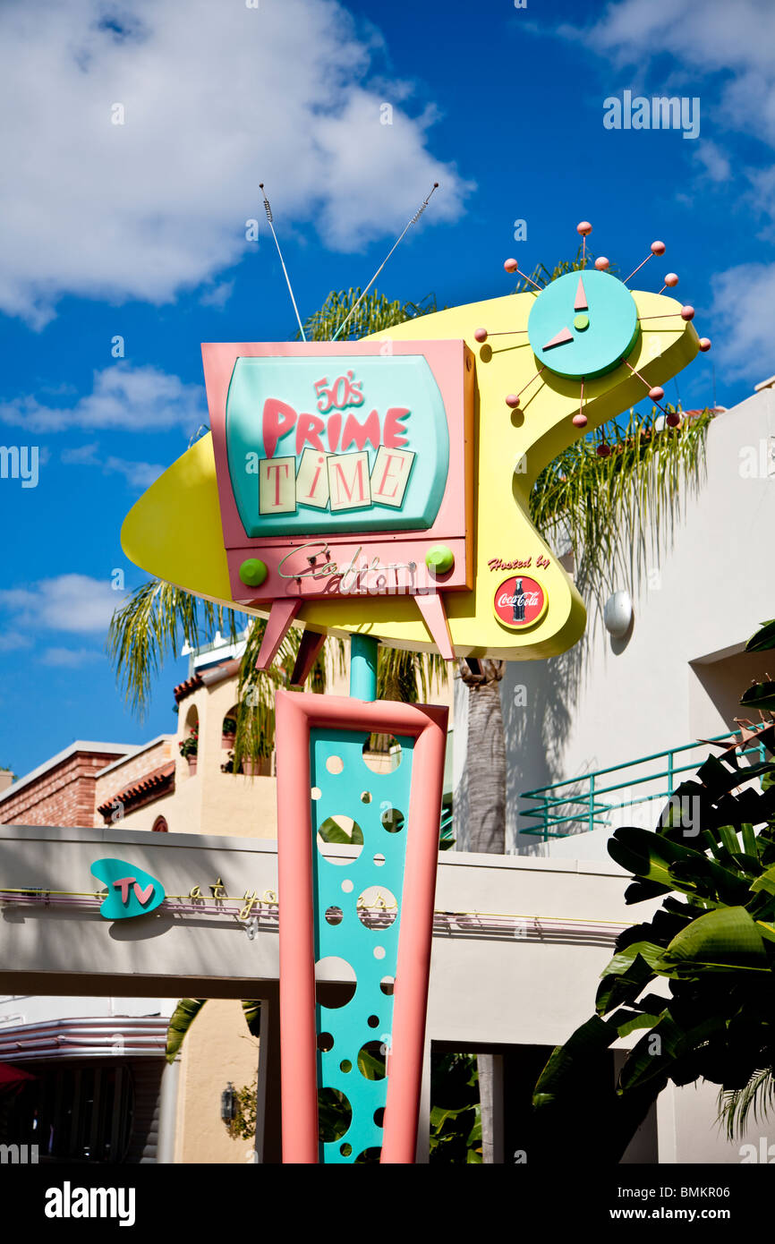 Orlando, FL - Feb 2009 - Sign at the 50's Prime Time Diner in Disney's Hollywood Studios in Kissimmee Orlando - Stock Image