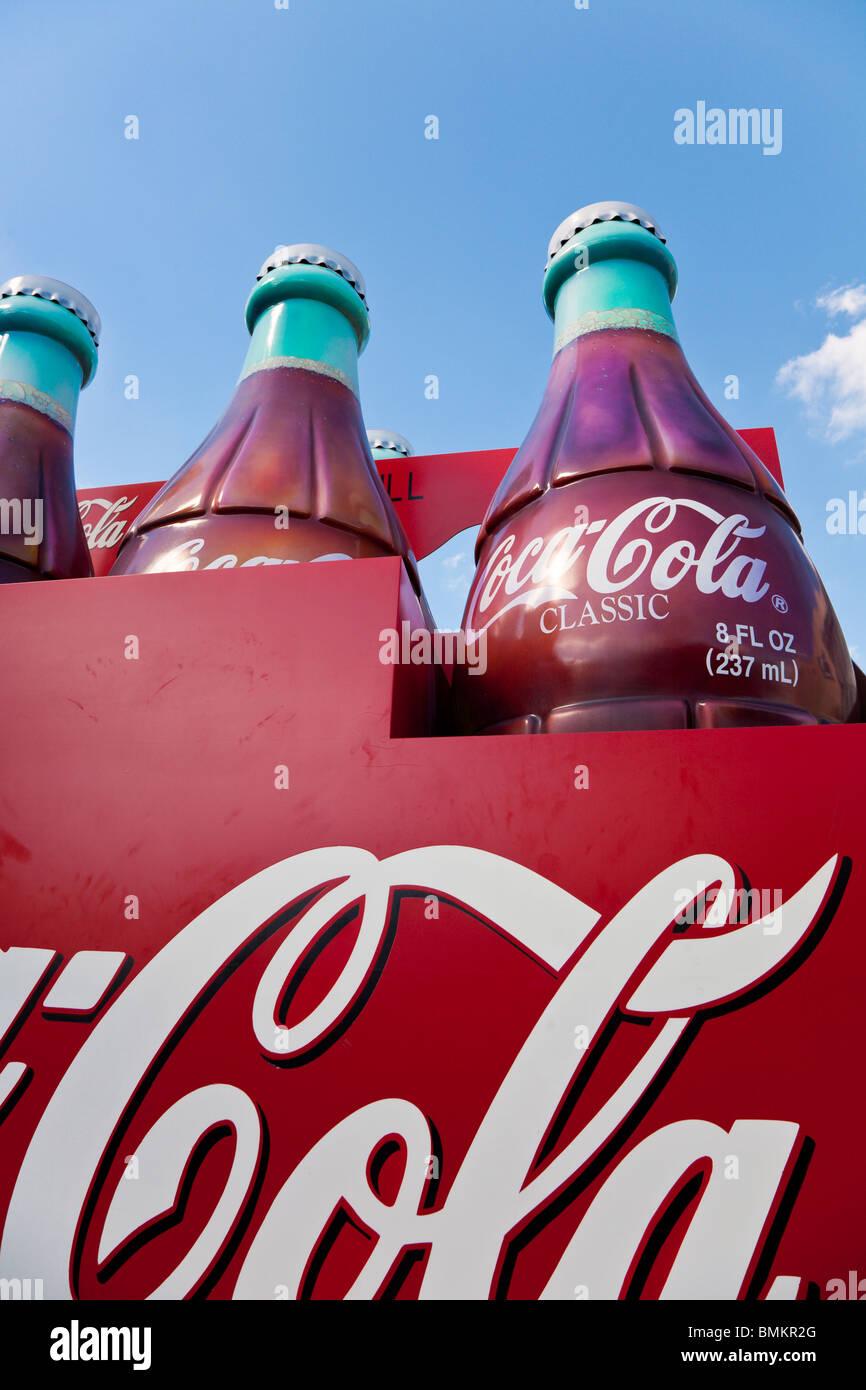 Orlando, FL - Feb 2009 - Giant Coke bottle display at Disney's Hollywood Studios in Kissimmee Orlando Florida - Stock Image