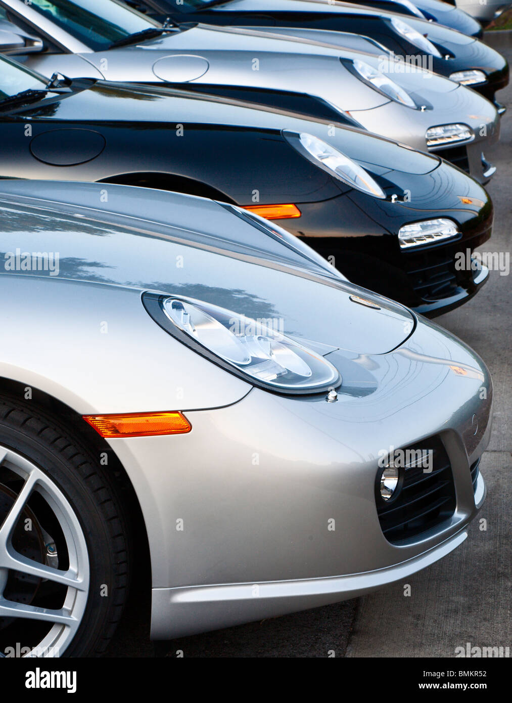Ocala, FL - Oct 2009 - Porsche sports cars for sale at dealership in Ocala Florida - Stock Image