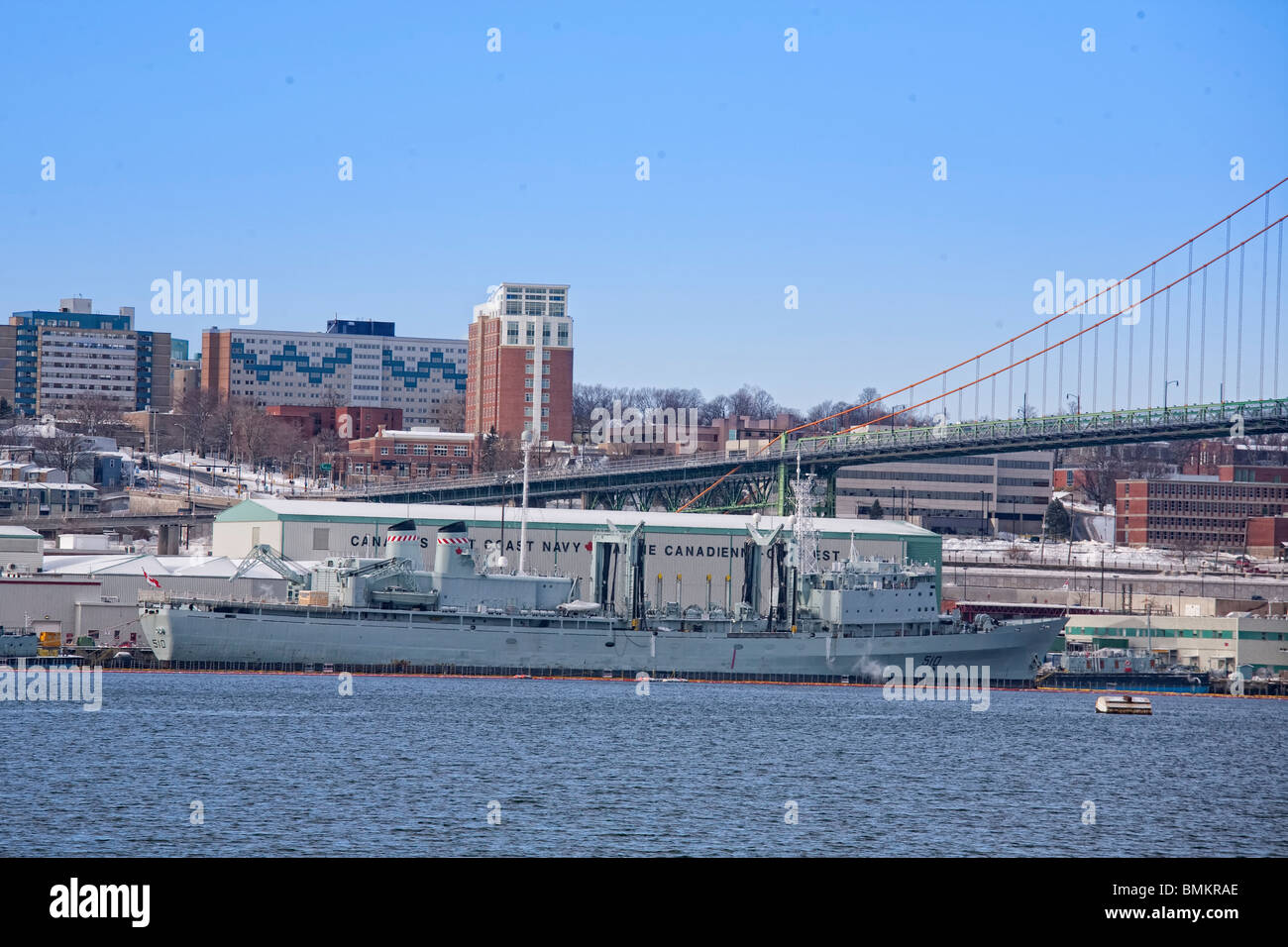 HMC Dockyard is part of Canadian Forces Base Halifax and is Canada's East Coast naval base and home port to - Stock Image