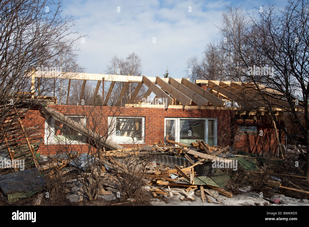 Completely rebuild of a detached house and the roof after water damage - Stock Image
