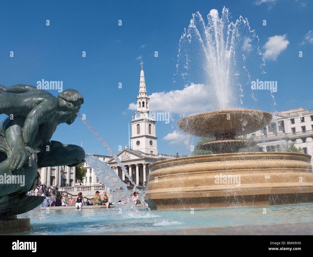 Trafalgar Square and St Martins Church, London - Stock Image
