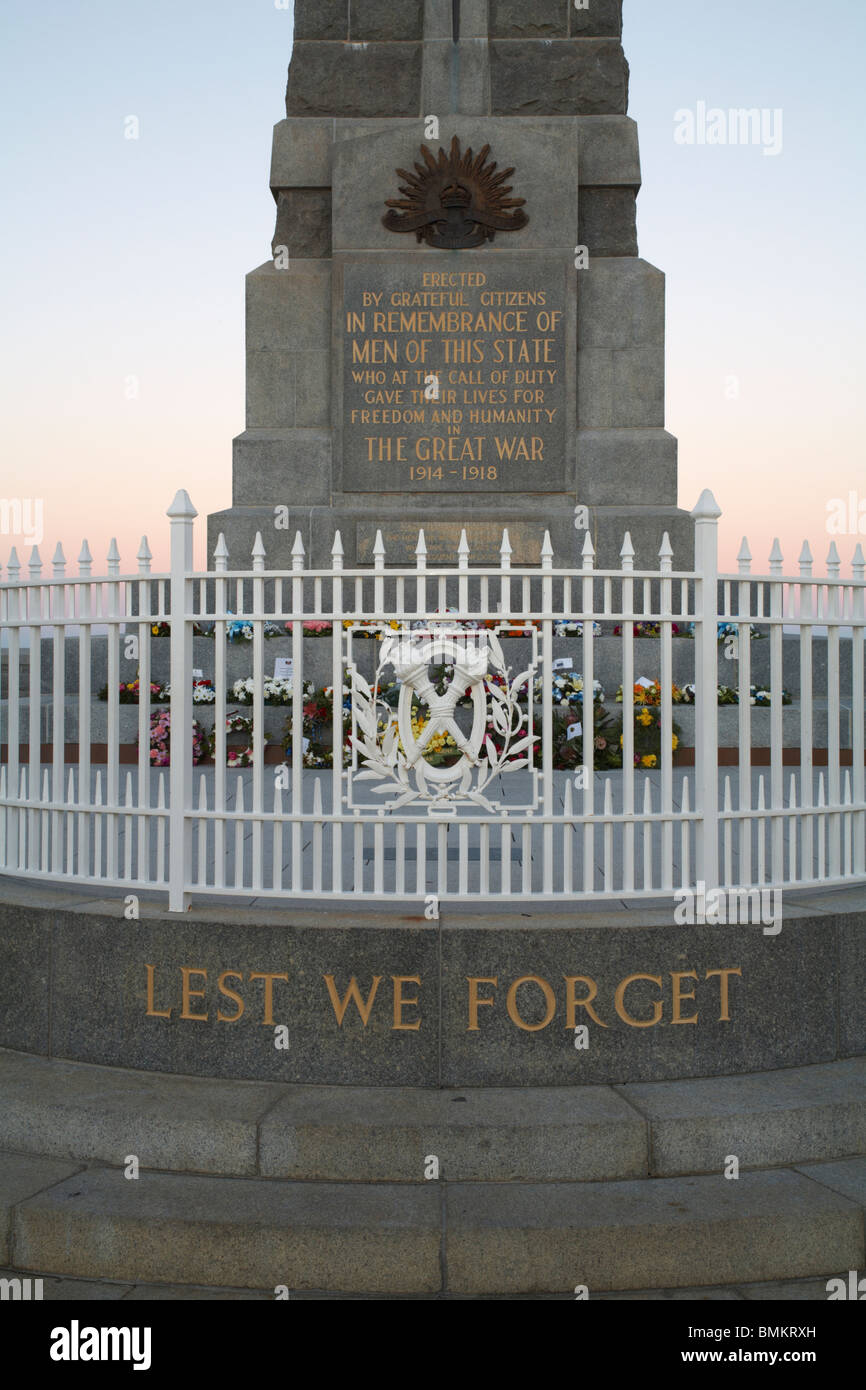 Wording on the base of the Kings Park war memorial in Perth, Western Australia - Stock Image