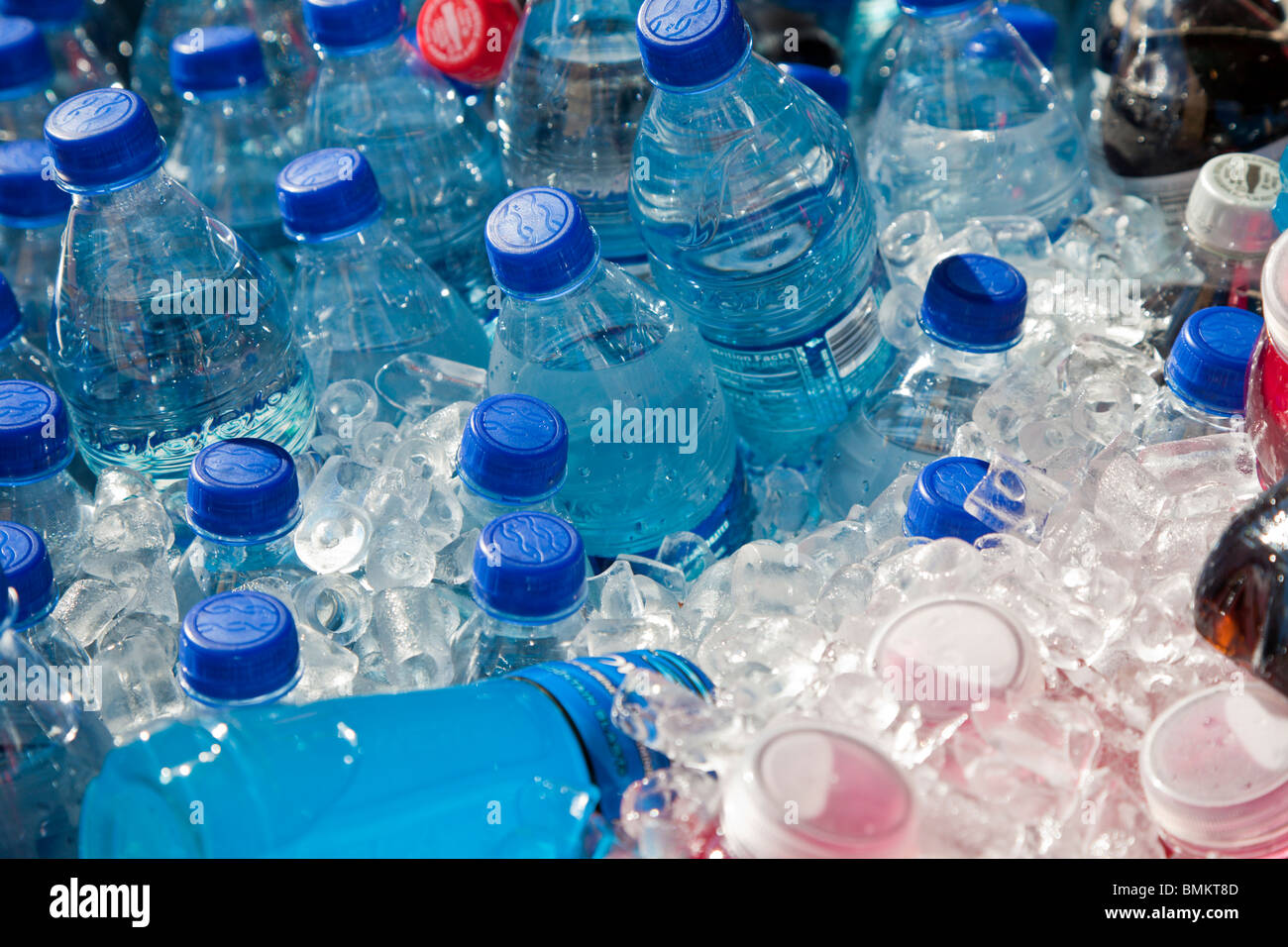 Orlando, FL - Feb 2009 - Plastic water bottles in ice - Stock Image
