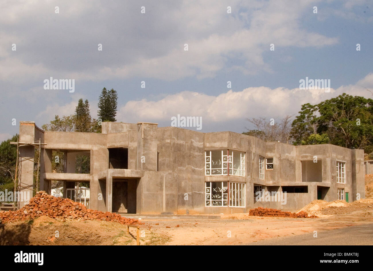 Africa Malawi Blantyre Modern Style House Under Construction