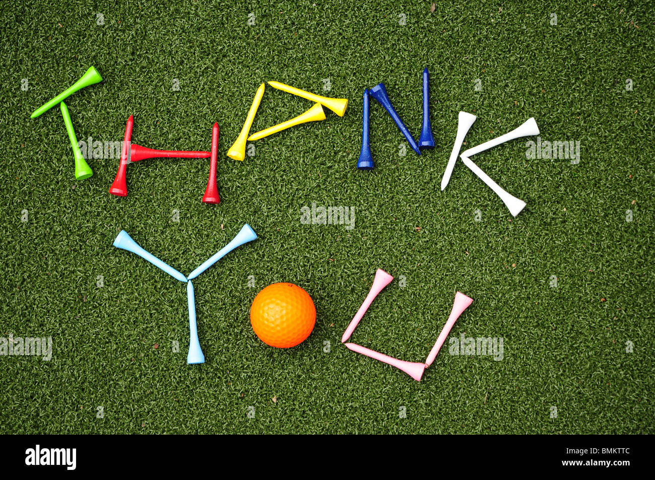 golf tees spell out thank you - Stock Image