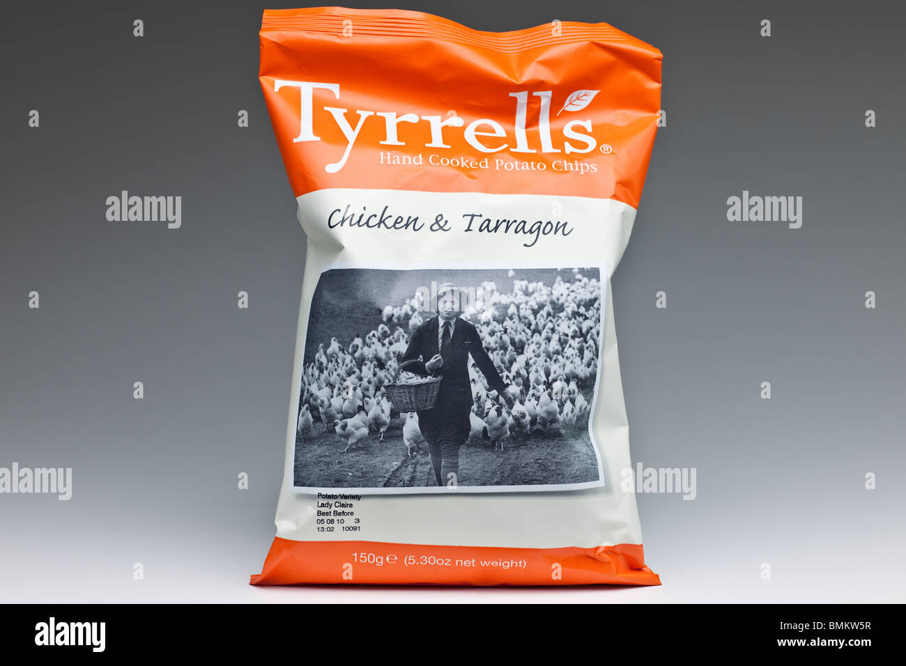 150g large bag of Tyrrells chicken and Tarragon flavoured hand cooked  potato chips crisps - Stock 7a0be8f26