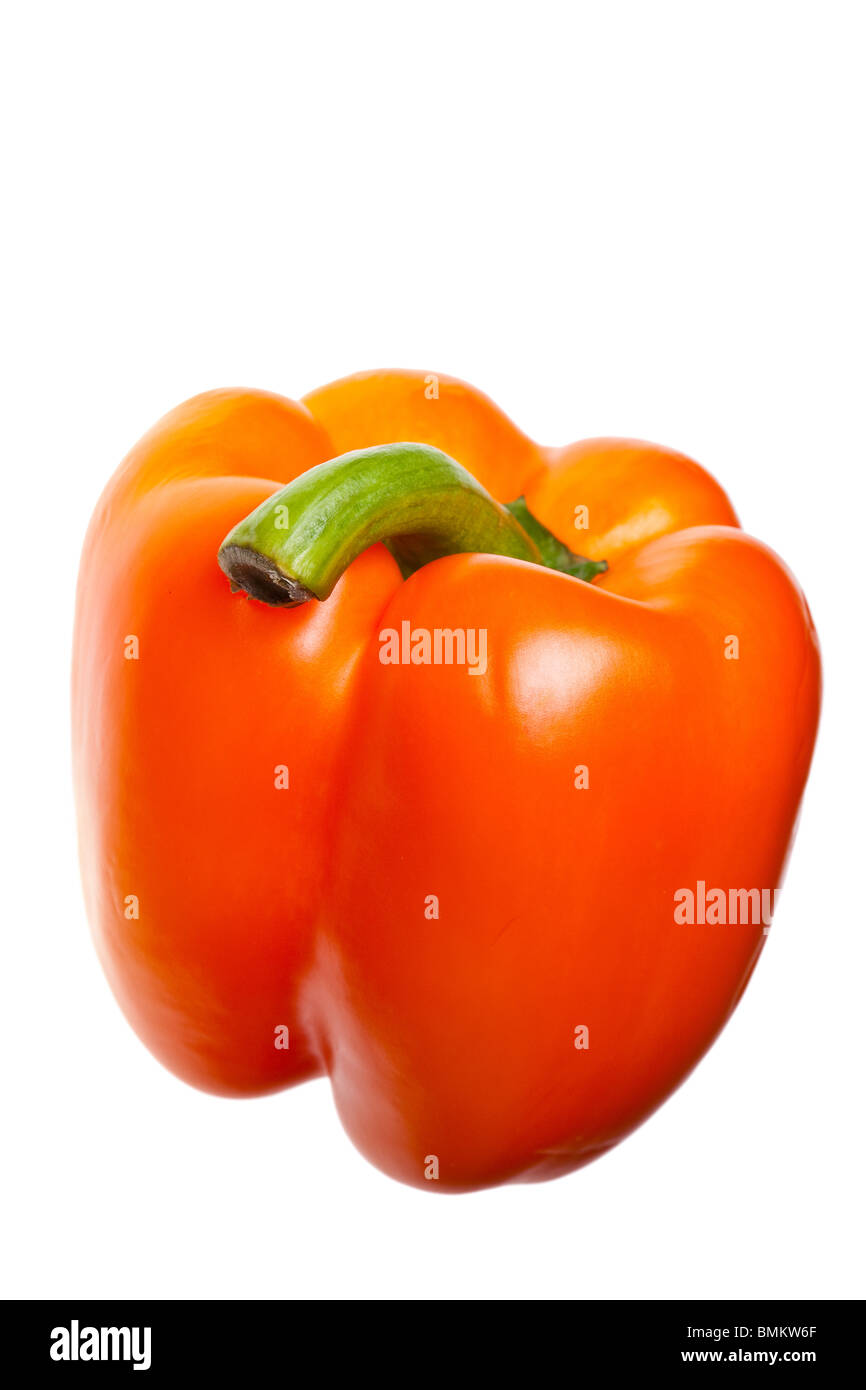 red pepper isolated on pure white background - Stock Image