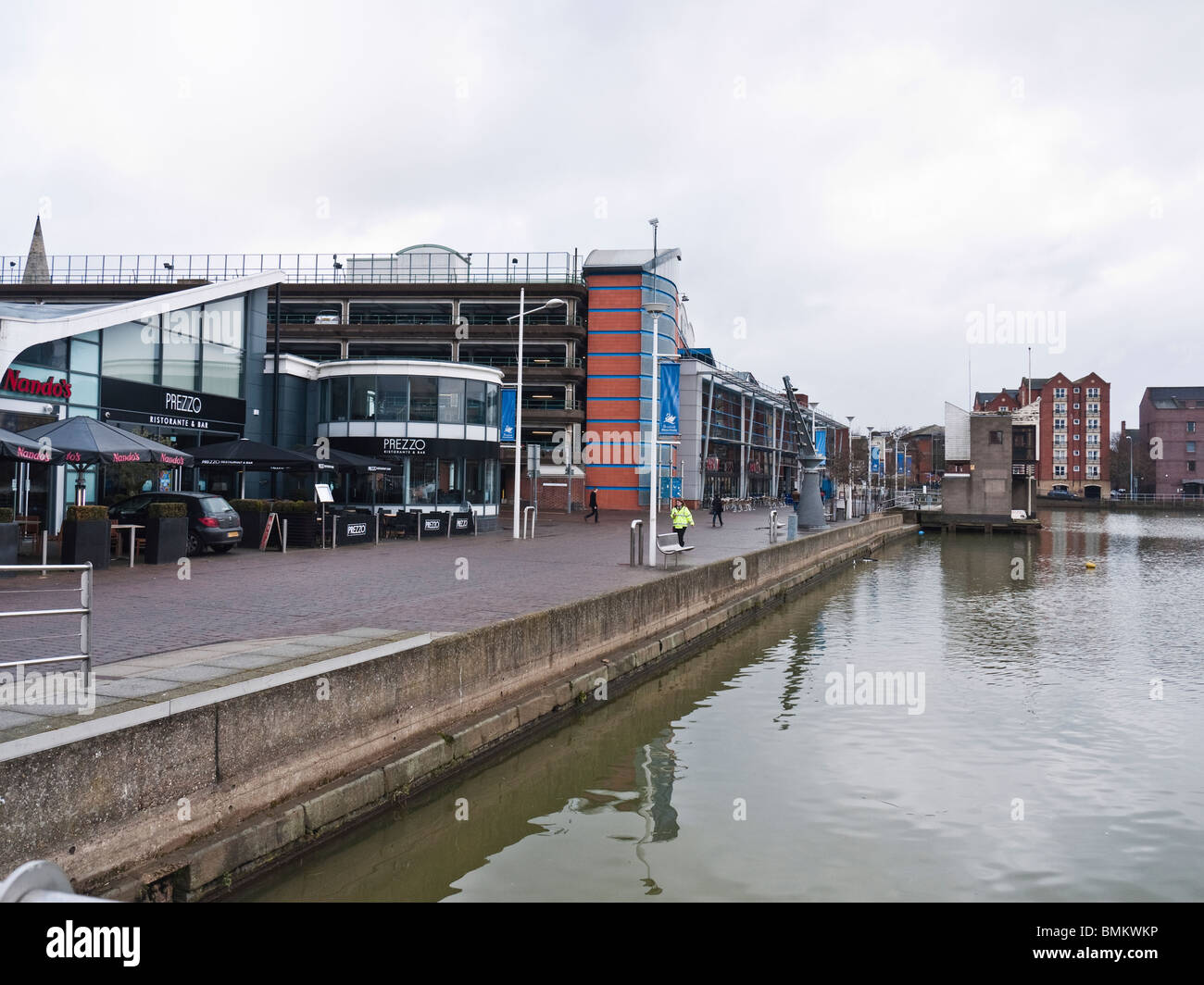 Gentrification on Brayford Wharf, River Witham, Lincoln, UK - Stock Image