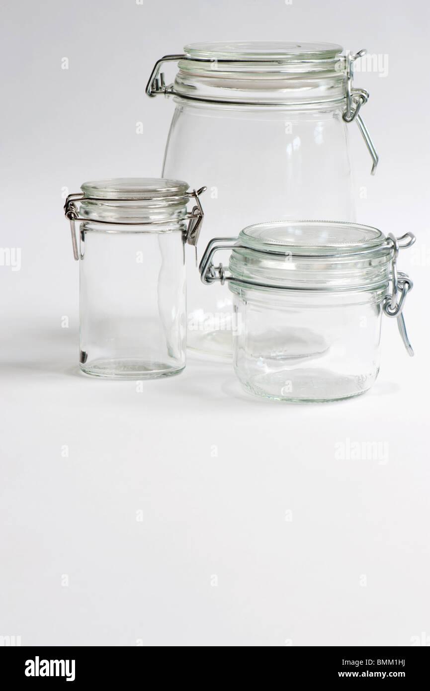 Three Glass Preserving Jars - Stock Image