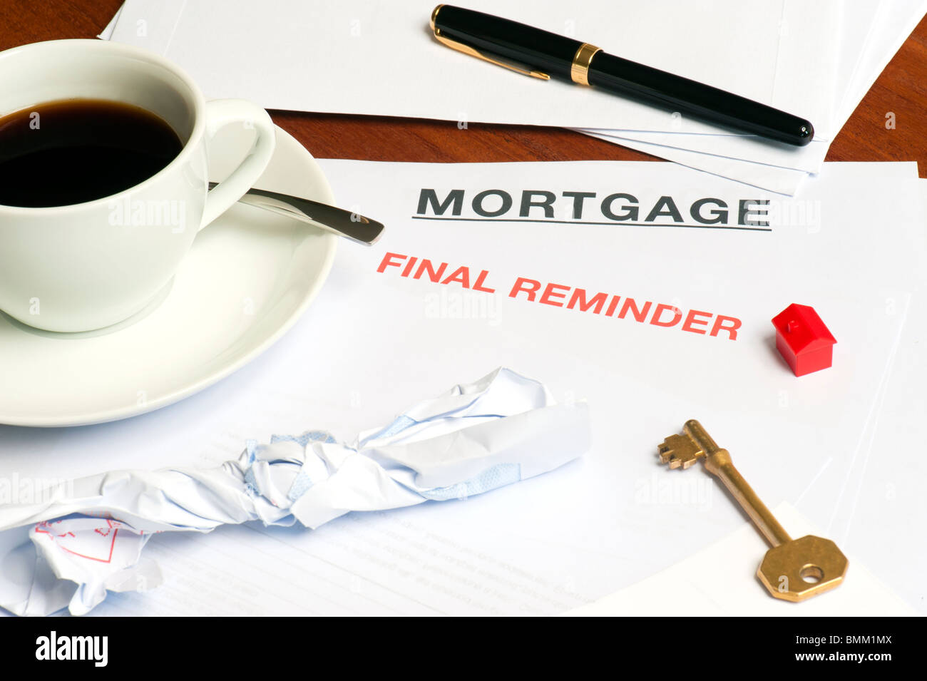 Morning Coffee and Mail, Depicting Debt, Arrears and Money Worries - Stock Image