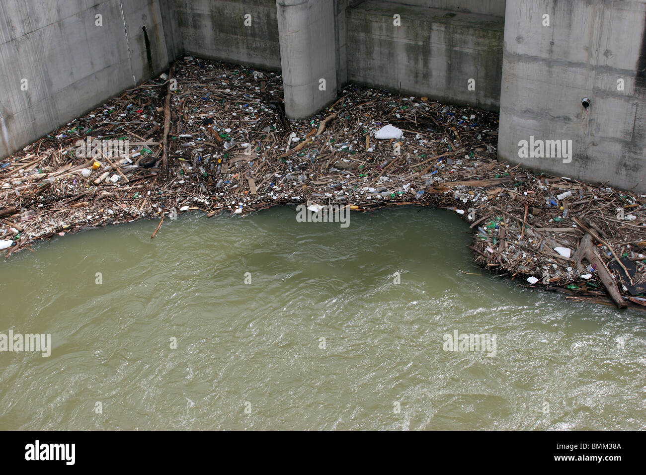 Human  pollution of dams and waterways - Stock Image