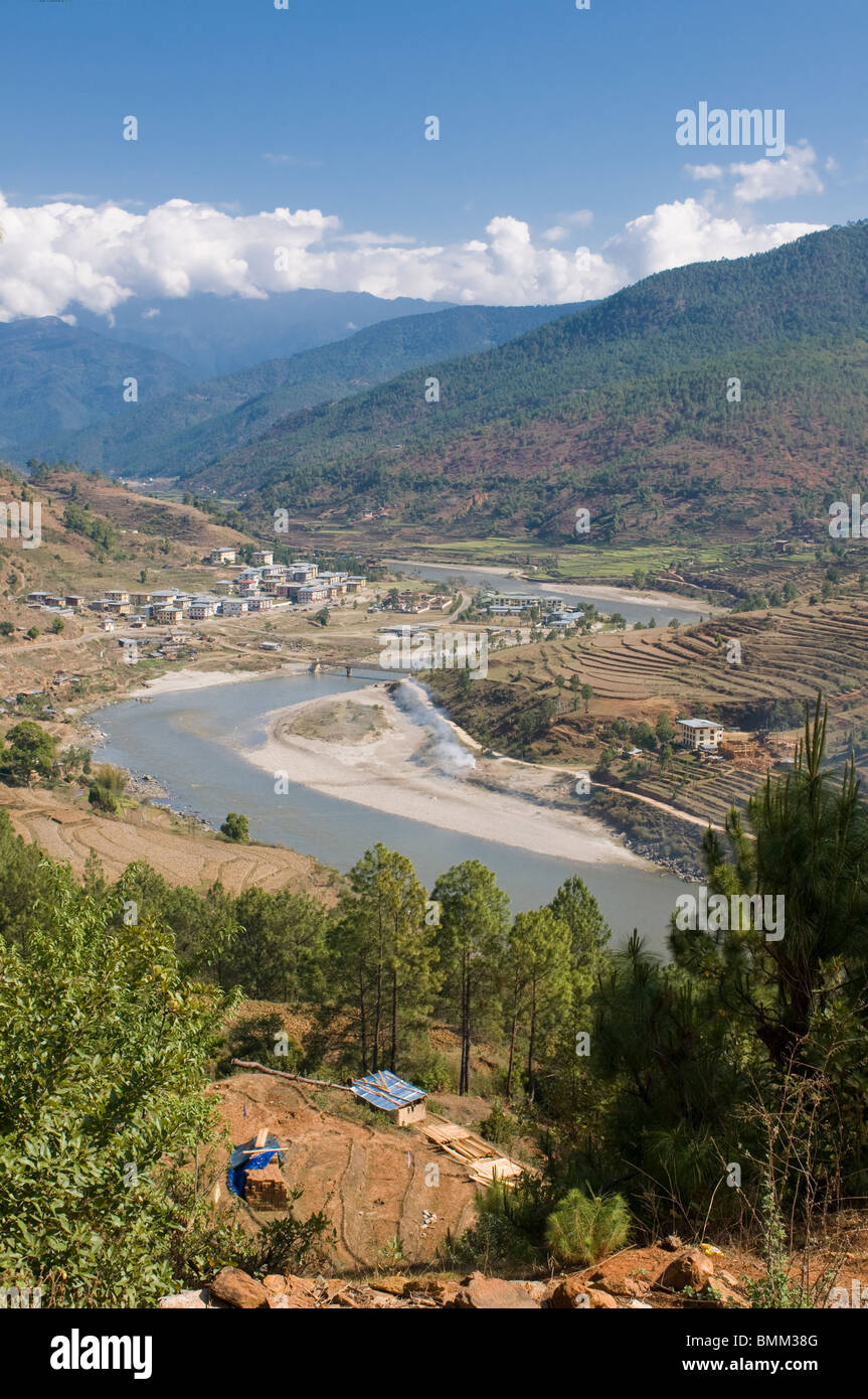 Mo Chhu and Pho Chhu river through Punakha, Bhutan,Asia - Stock Image