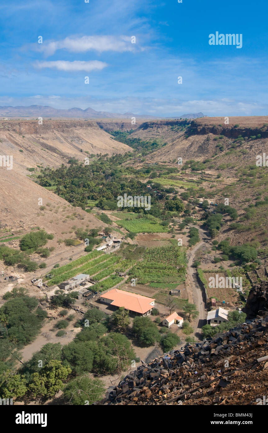 View over valley and blooms. Ciudad Velha, Cidade Velha, Santiago, Cabo Verde, Africa,valley - Stock Image