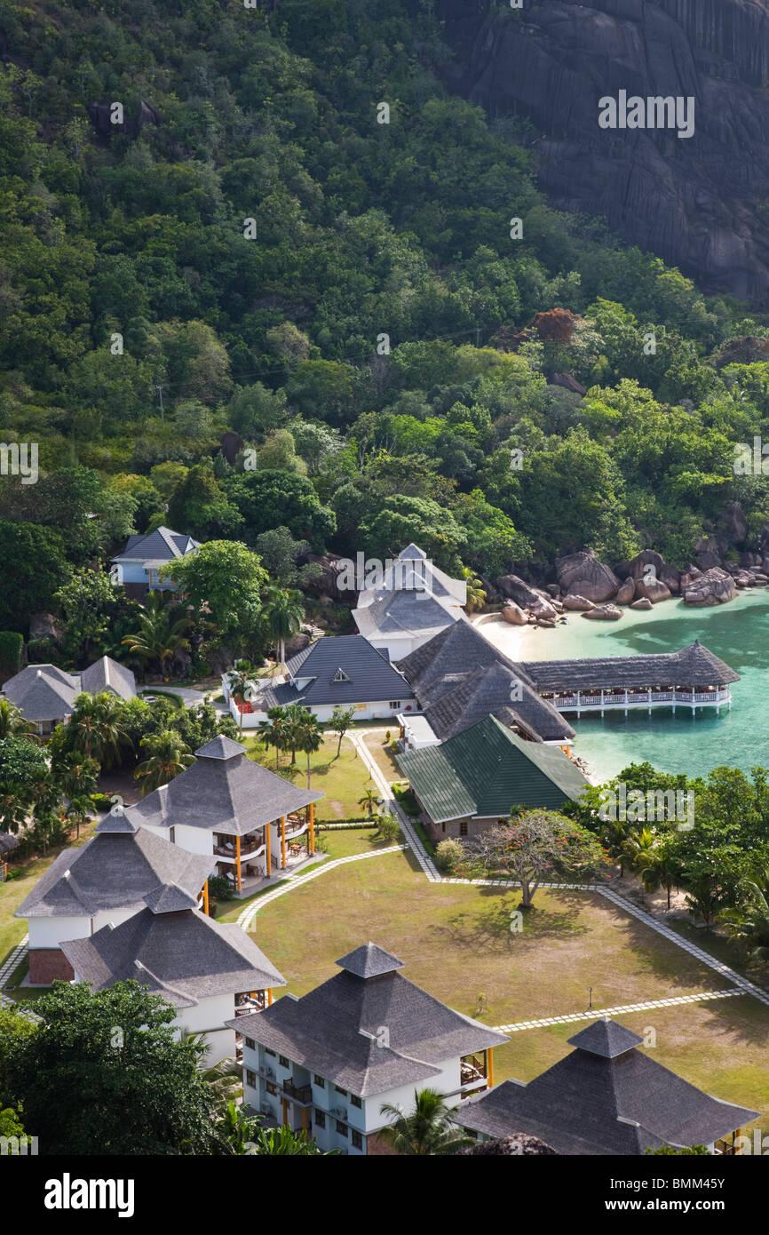 Seychelles, Praslin Island, Anse Volbert, La Reserve hotel Stock Photo