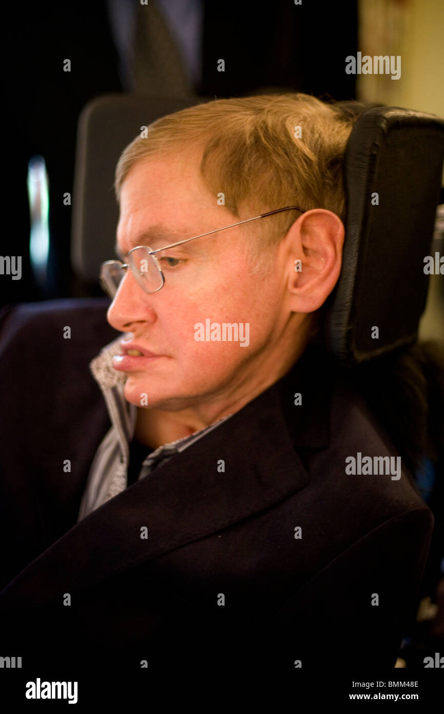 Stephen Hawking is a British theoretical physicist. He is the Lucasian Professor of Mathematics at the University Stock Photo